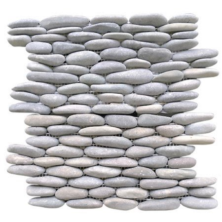 "Rainforest Light Grey Stacked Stone Pebble Wall Tile 12"" x 12"" (5.0 sq. ft. / case)"