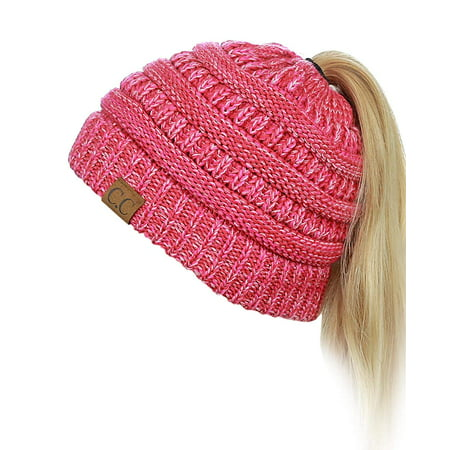 Women's Winter Chunky Cable Knit BeanieTail Soft Stretch Cable Knit Messy High Bun Ponytail Beanie Hat Cap (Red)
