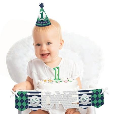 Par-Tee Time - Golf 1st Birthday - First Birthday Boy or Girl Smash Cake Decorating Kit - High Chair - 1st Birthday Boy Decorations