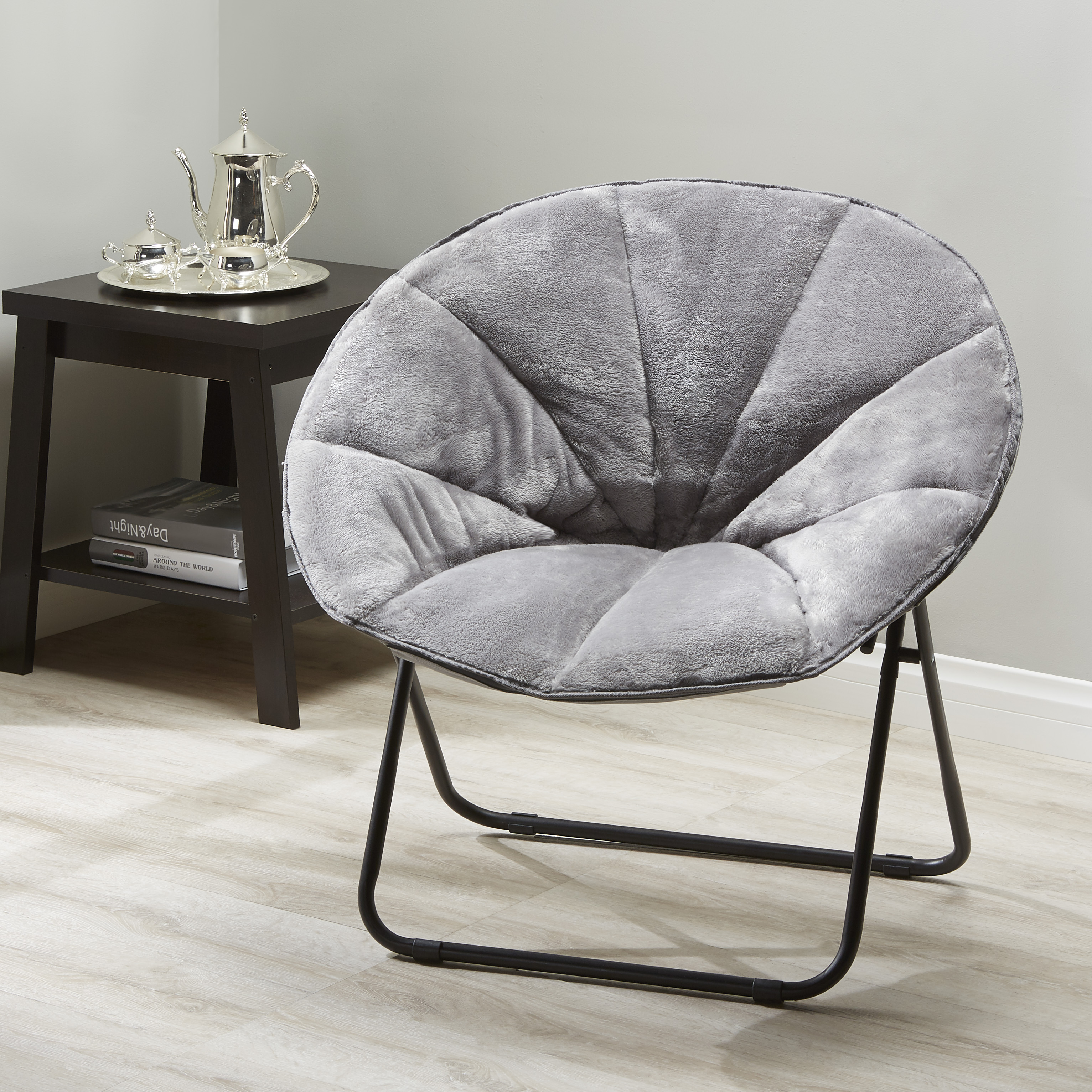 Stupendous Mainstays Folding Plush Saucer Chair Multiple Colors Forskolin Free Trial Chair Design Images Forskolin Free Trialorg