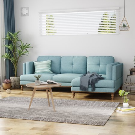 Noble House Axton 2 Piece Upholstered Chaise Sectional