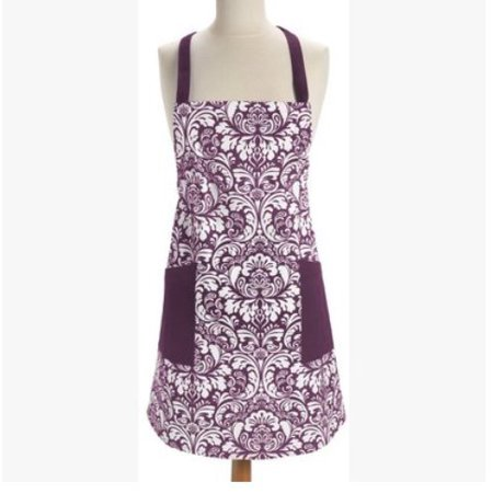 Novo Cotton Adjusatble Women Kitchen Apron with Pockets and Extra Long Ties Purple, Cute Apron for Cooking, Baking, Gardening, Crafting, BBQ