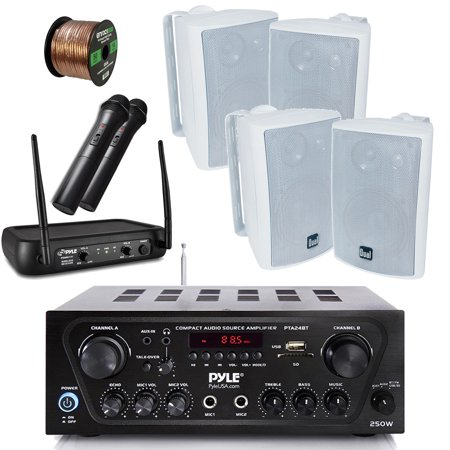 - Pyle Wireless Bluetooth Stereo Receiver Amplifier, Dual Channel VHF Wireless Microphone System, 4X Dual Electronics 4