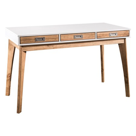 Police Officer Natural (Rustic Mid-Century Modern 3-Drawer Jackie Home Office Desk in White and Natural Wood )