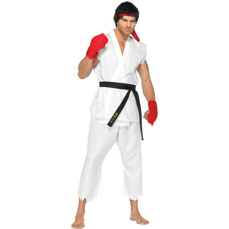Leg Avenue Men's Street Fighter 5 Piece Ryu Costume, White, - Arab Street Costume Shop