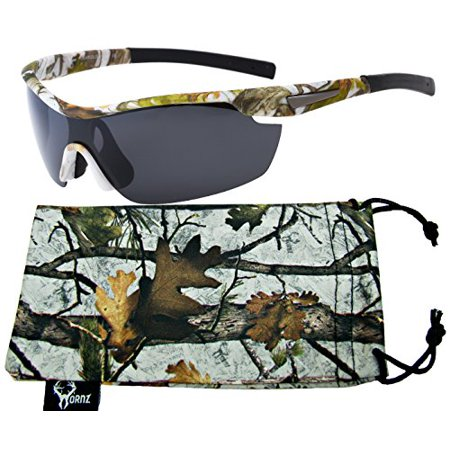 809991cd60a Hornz Winter Snow Camouflage Polarized Sunglasses for Men Wrap Around Sport  Frame   Free Matching Microfiber Pouch - Winter Snow Camo Frame - Smoke Lens