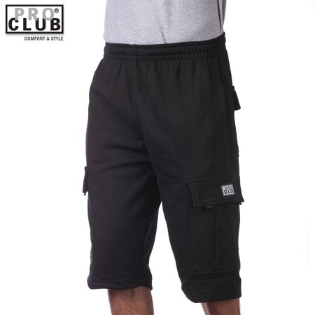 Pro Club Men's Fleece Cargo Shorts Pants Black Small