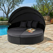 SUNCROWN Outdoor Patio Round Retractable Canopy Daybed, Black Wicker Furniture Clamshell Sectional Seating w/Washable Cushions, Patio, Backyard, Porch, Pool