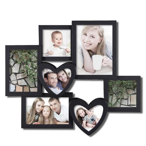 Adeco 7-opening Heart-shaped Black Hanging Collage Photo Frame