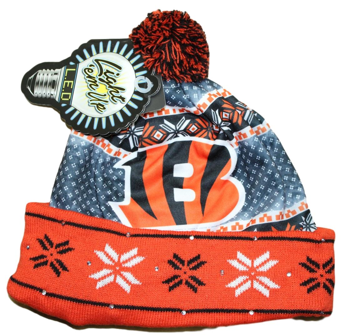 """Cincinnati Bengals NFL """"Ugly"""" LED Light Up Cuffed Knit Hat with Pom by Forever Collectibles"""