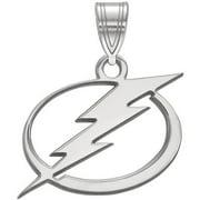 LogoArt Sterling Silver Rhodium-plated NHL Tampa Bay Lightning Medium Pendant