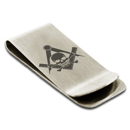Stainless Steel Freemasons Masonic Skull & Crossbones Engraved Money Clip Credit Card Holder