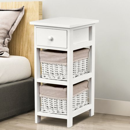 Gymax  Wooden Bedside Table Nightstand Chest Cabinet ()