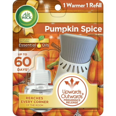 Air Wick Plug in Scented Oil Starter Kit (Warmer + 1 Refill), Pumpkin Spice, Air Freshener, Essential Oils, Fall Scent, Fall decor