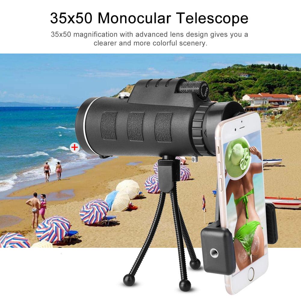 Hilitand 35x50 Monocular Telescope 10x Zooming Optical Lens Manual Focusing Phone Monocular Telescope,Monocular Telescope, Phone Telescope Lens