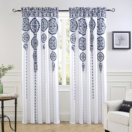 DriftAway Taylor Moroccan Cascading Medallion Floral Pattern Room Darkening Window Curtains Rod Pocket 2 Panels Each Size 50 Inch by 84 Inch Navy Taylor Curtain Panel