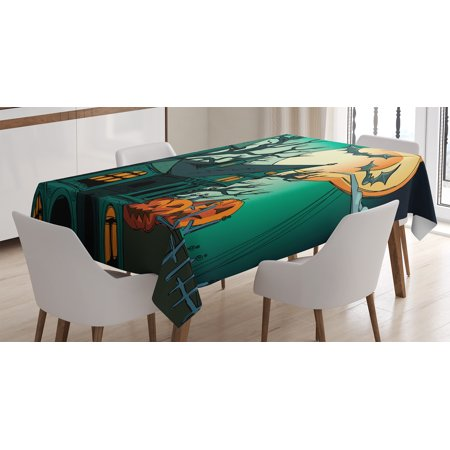 Halloween Decorations Tablecloth, Haunted Medieval Cartoon Bats in Twilight Gothic Fiction Spooky Art, Rectangular Table Cover for Dining Room Kitchen, 60 X 84 Inches, Orange Teal, by Ambesonne