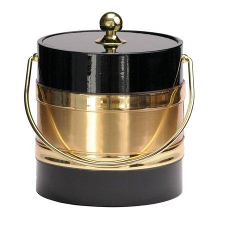 Mr Ice Bucket Black 3 Qt. Ice Bucket with Gold Center Design