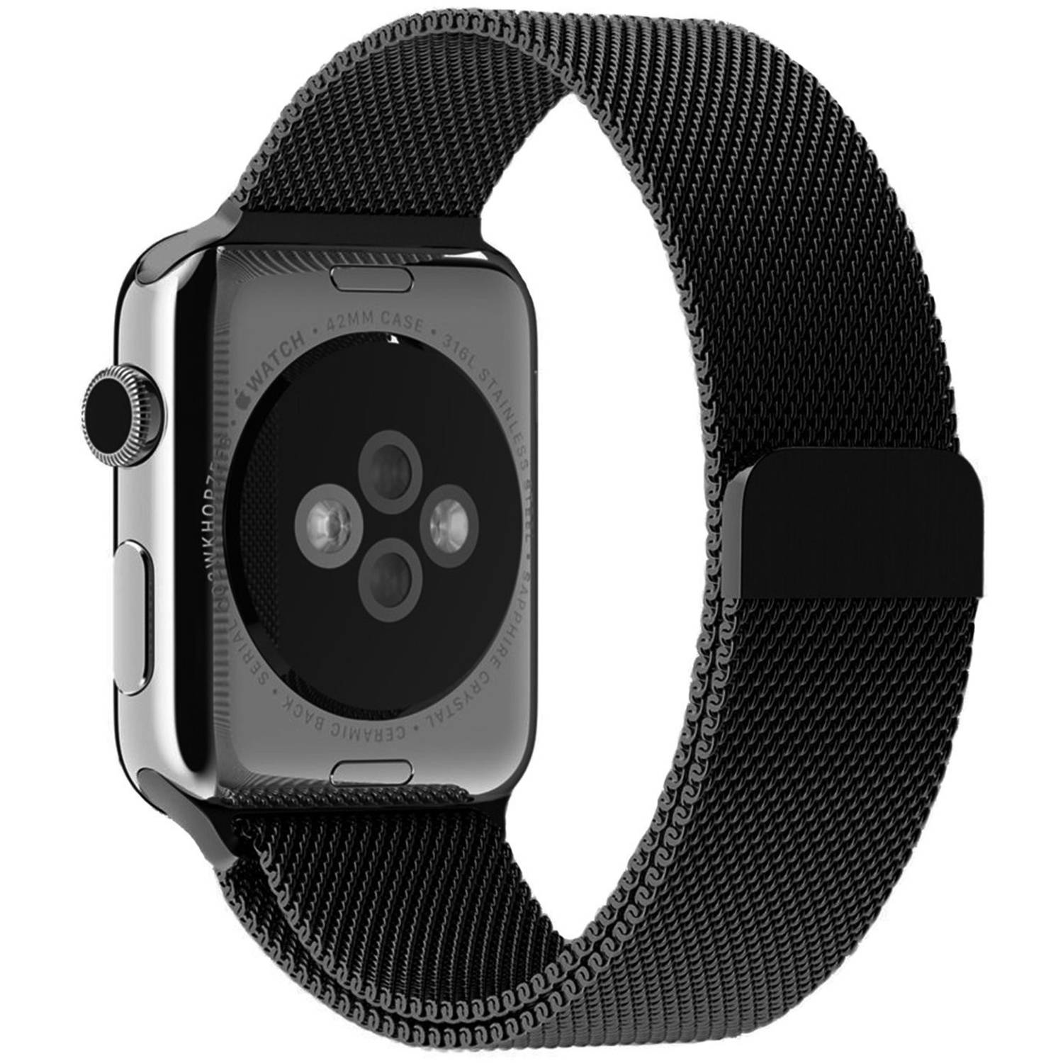 JETech 42mm Milanese Loop Stainless Steel Bracelet Strap with Unique Magnet Lock Replacement Band for Apple Watch Series 1 and 2