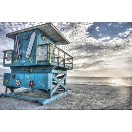 South Beach Miami: a Lifeguard Stand on South Beach During a Sunrise Print Wall Art By Brad Beck