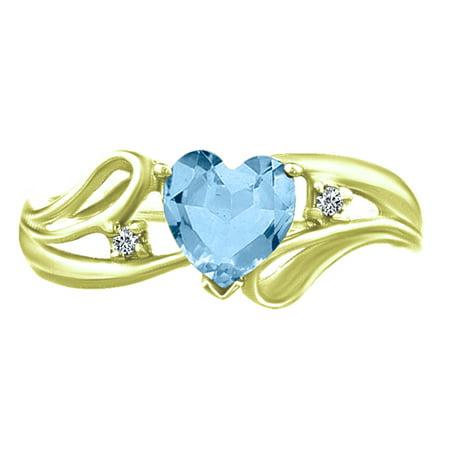 1.08 tcw Heart Cut Aquamarine & Natural Round Cut Diamond Ring 10k Yellow Gold