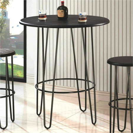Coaster mid century modern round bar table black and for Mid century bistro table