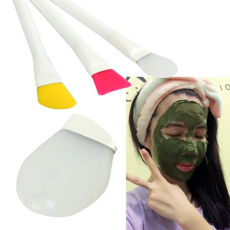 Mosunx 3 Pcs Facial Cosmetic Hot Unique Makeup Soft Silicone Mask Brushes Set