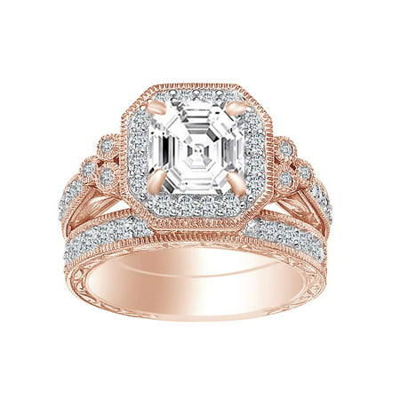 Asscher & Round White Cubic Zirconia Engagement Bridal Ring Set In 925 Sterling Silver (4.5 cttw) Ring (Asscher Vs2 Ring)