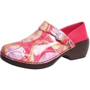 4EurSole Work Shoes Womens Patent Leather Clog Pink Geo RH007