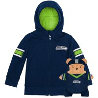 Seattle Seahawks Cubcoats Preschool 2-in-1 Transforming Full-Zip Hoodie & Soft Plushie - College Navy