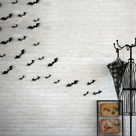 Home Diy Halloween (12pcs Black 3D DIY PVC Bat Wall Sticker Decal Home Halloween)