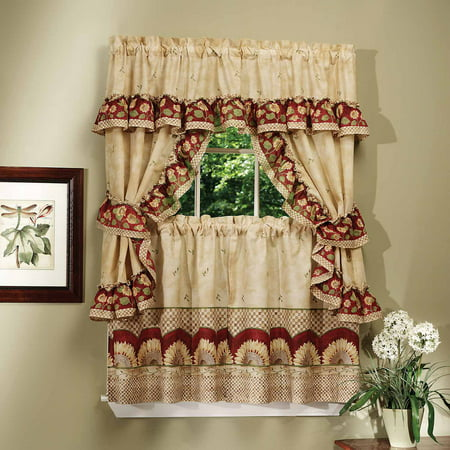 Sunflower Curtain (Sunflower 5 Pc. Complete Kitchen Curtain Tier & Swag Set - 36 in. Long )