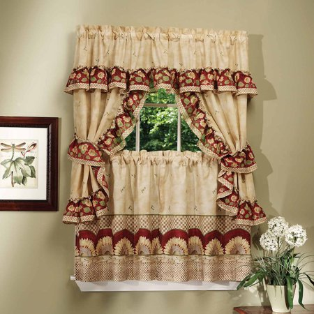 Sunflower 5 Pc. Complete Kitchen Curtain Tier & Swag Set - 36 in. Long ()