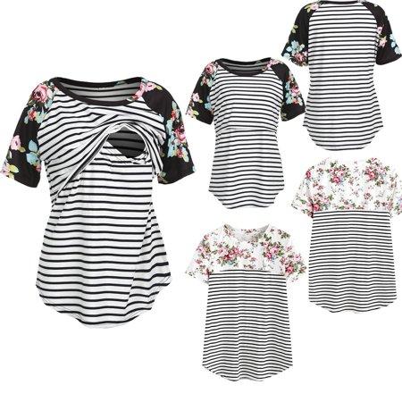 Fashion New Summer Women Pregnant Maternity Nursing T Shirts Breastfeeding Short Sleeve Shirt Tee Tops (Halloween Shirts For Pregnant Women)
