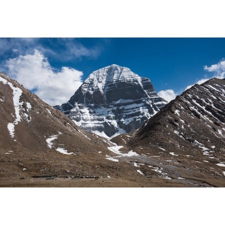 Wallmonkeys The North Face of Mt Kailash Peel and Stick Wall Decals Mural WM216565 (18 in W x 12 in H)