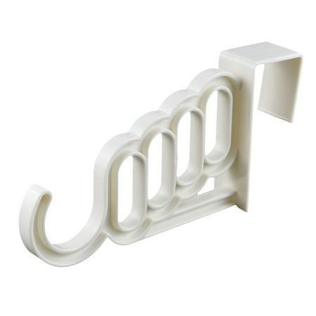 Unique Bargains Indoor Office Washroom Plastic Over Door Wardrobe Coat Hooks Hanger White 2pcs ()
