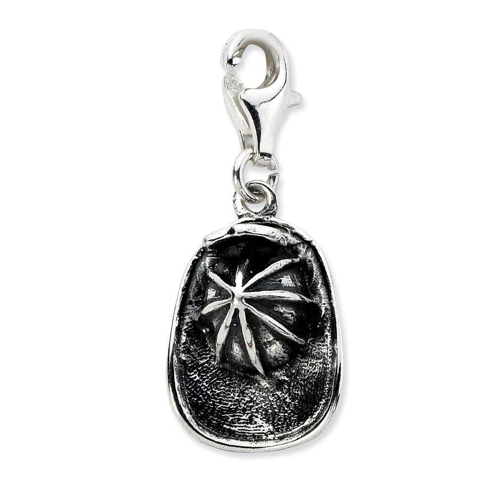 Sterling Silver 3-D Antiqued Firemans Hat with Lobster Clasp Charm (0.6in long x 0.5in wide)