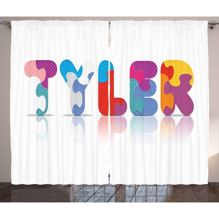 Tyler Curtains 2 Panels Set, Composition of Kindergarten Themed Colorful Letter Arrangement Newborn Children Name, Window Drapes for Living Room Bedroom, 108W X 63L Inches, Multicolor, by (Best Room Temperature For Newborn)
