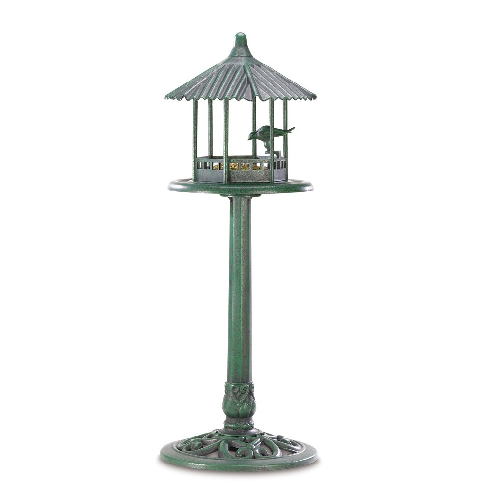 Birdfeeders, Hummingbird Woodpecker Birdfeeder Verdigris Standing Birds Feeder by Songbird Valley