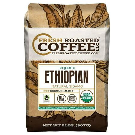 Organic Ethiopian Natural Sidamo Coffee, Fair Trade, Whole Bean Bag, Fresh Roasted Coffee LLC. (2 LB.)
