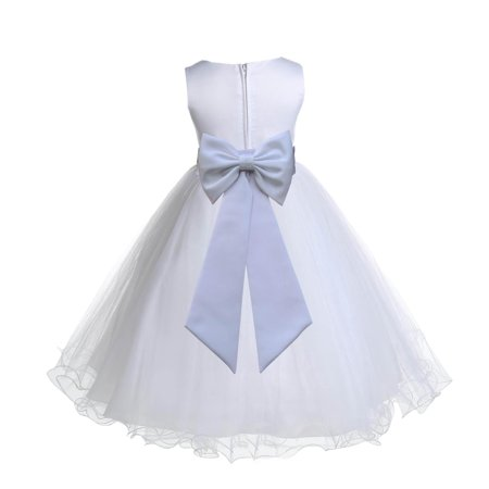 Ekidsbridal Satin White Tulle Rattail Christmas Party Bridesmaid Recital Easter Holiday Wedding Pageant Communion Princess Birthday Clothing Baptism 829T size 6-9 month Flower Girl Dress