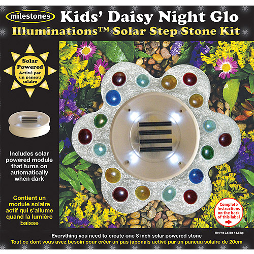 Milestones Illuminations Solar Step Stone Kit, Kids' Daisy Night Glo