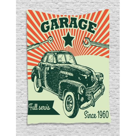 Cars Tapestry, Retro Car and Garage Advertising Poster Style Picture with Grunge Effects 1960s, Wall Hanging for Bedroom Living Room Dorm Decor, Emerald Orange, by Ambesonne - Car Themed Decor