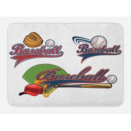Sports Bath Mat Baseball Mitt Ball Bat Hardball Supplies Exercise Team Various Clical Designs