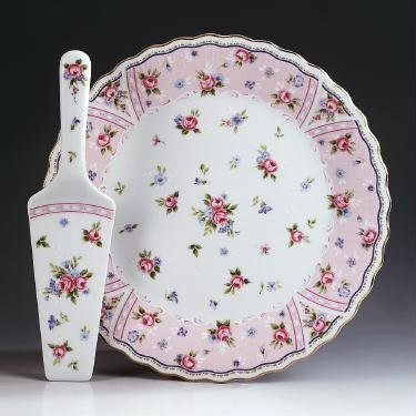 Retired Andrea by Sadek Petit Rose Cake Plate and Matching (Andrea By Sadek Cake Plate With Server)