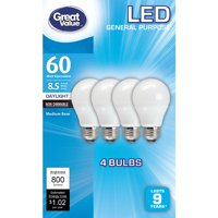 Great Value LED Light Bulbs, 8.5W (60W Equivalent), Daylight, 4 Pack