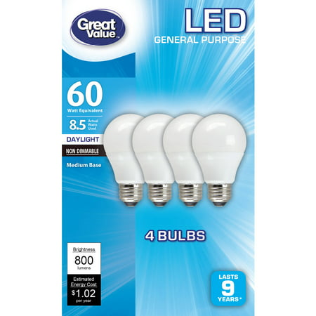 Great Value LED Light Bulbs, 8.5W (60W Equivalent), Daylight, -