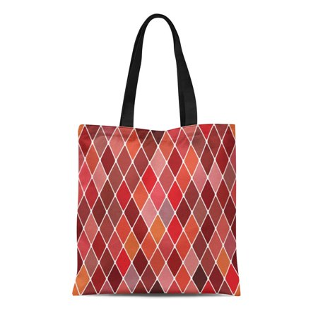 ASHLEIGH Canvas Tote Bag Red Pattern Harlequin Autumnal Diamond Masquerade Autumn Venice Geometric Durable Reusable Shopping Shoulder Grocery Bag