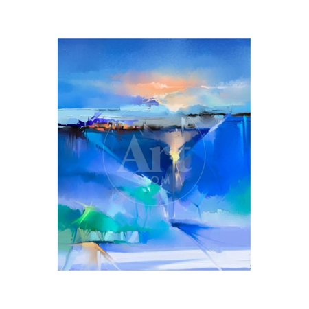 Abstract Colorful Oil Painting Landscape on Canvas. Semi- Abstract Image of Tree, Hill and Green, B Print Wall Art By pluie_r