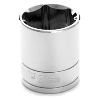 "Performance Tool W32227 Chrome Socket, 1/2"" Drive, 27mm, 6 Point, Shallow"